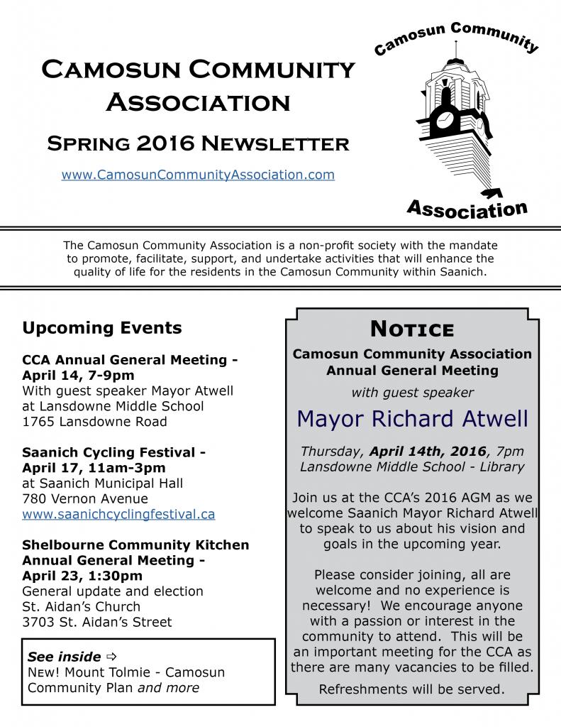 CCA Spring 2016 Newsletter